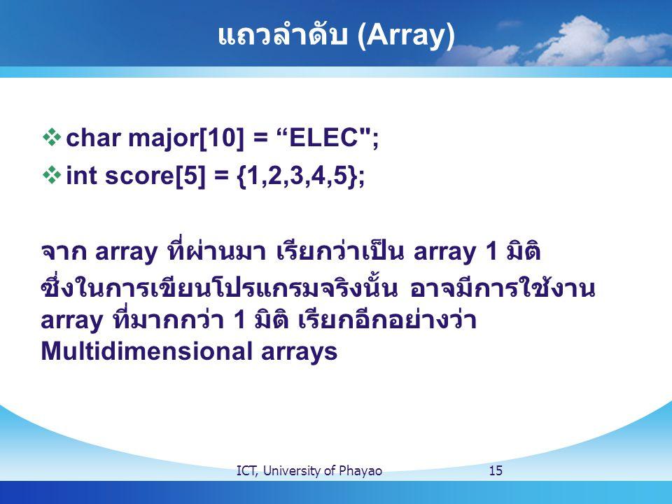 แถวลำดับ (Array) char major[10] = ELEC ; int score[5] = {1,2,3,4,5};